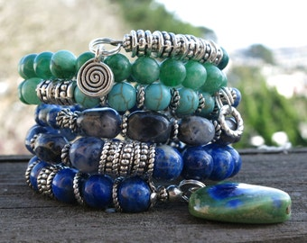 Green and Blue Heart  Memory Wire Bracelets (set of 2)