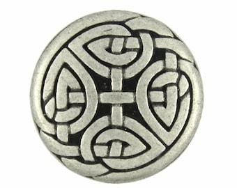 Metal Buttons - Eternal Knot Antique Silver Metal Shank Buttons  - 0.91 inch - 5 pcs