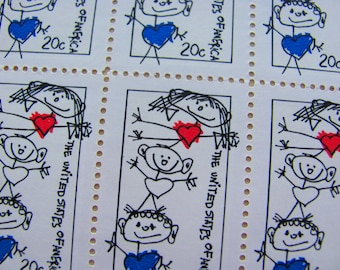 Family Unity 10 UNused Vintage 1984 US Postage Stamps 20 Cents Scribbles Kids Valentine's Gay Pride Crush Romance Romantic Save the Date