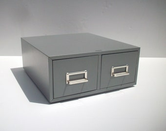 Metal Card Catalog Drawers / 2 Drawer Card File / Index Card File Drawers / Storage Organization / Library Recipe Card Catalog File / Grey