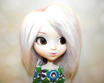 Soft purple frosted faux fur wig hair with white highlights for Pullip/Taeyang