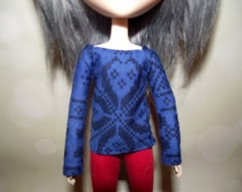Blue with black tribal long sleeve shirt for pullip
