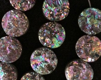 4 Purple Titanium Druzy flat backs.Beads 10 mm.