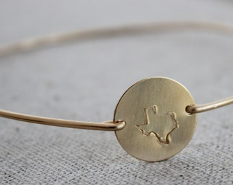 texas bangle | 14k gold filled texas stamped bangle | slip on bracelet | state of texas jewelry | home sweet home texas