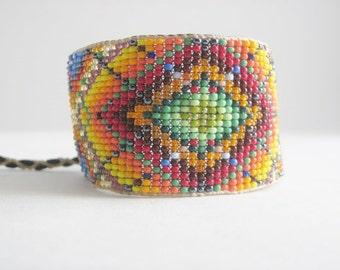 Huichol Influenced, Diamond Mandala, Original Design, Beaded Bracelet  3