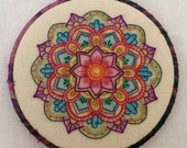 Color Me Bright Mandala Hand Embroidered Hoop Art