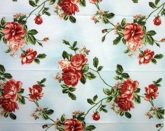 Roses Vines My Secret garden Floral  Cotton Quilt Fabric by 1/2 yard