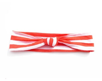 Red and White Stripe Lightweight Jersey Knit Top Knot Headband Fits Baby to Toddler Size