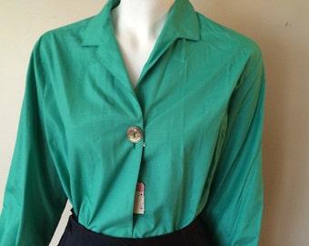 Vintage Felice Green Pinup Blouse Big Button NOS