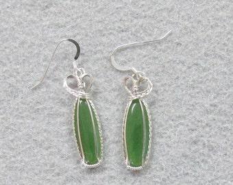 Nephrtite Jade and Sterling Silver Earrings