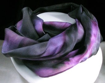 Silk Scarf, Hand Painted Silk Scarf, Black, Violet Purple, Amethyst - Midnight Violet