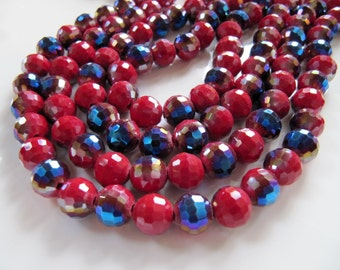 10mm Half Plated GLASS Beads in Opaque Dark Red and Metallic Dark Blue, Round, Faceted, 40 Pieces