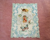 Large Antique Valentine Card Paper Lace with Angels and Butterfly
