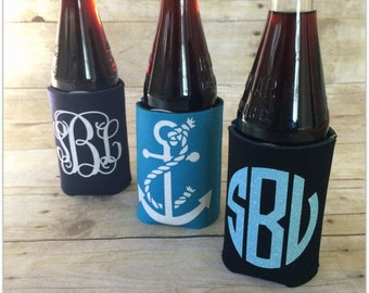 Vinyl Monogrammed Drink Koosies - New Colors Available
