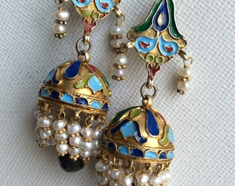 KREMLIN EARRING sterling enameled russian antique ancient inspired sapphire silver gold dome