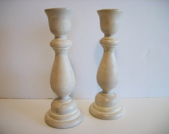 Antique White Candlesticks Set of 2 Antique White