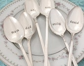 Personalized pair of hand stamped long ice cream or iced tea spoons, vintage hand stamped