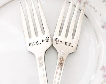 Mr. & Mrs. Lovebirds forks, vintage, hand stamped, radiance