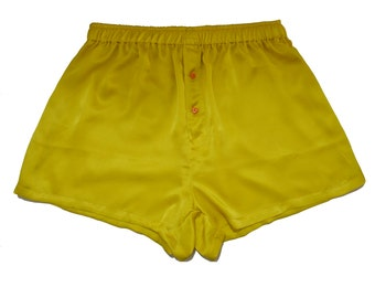 SIZE Large,La Lilouche LUX Honey Yellow Silk satin with Orange Heart buttons Boxers