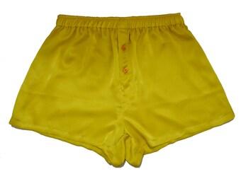 SAMPLE SALE ,La Lilouche LUX Honey Yellow Silk satin with Orange Heart buttons Boxers