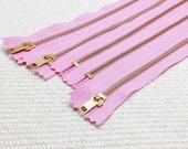 NEW: 12inch -  CandyFloss Pink Metal Zipper - Gold Teeth - 5pcs