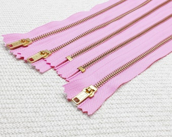 NEW: 12inch -  CandyFloss Pink Metal Zipper - Gold Teeth - 5pcs