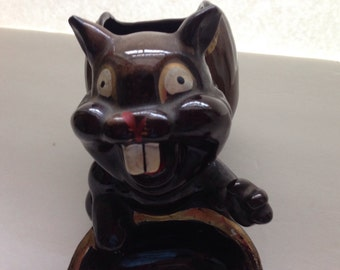 Scary Squirrel Planter Crafts  Glazed  Vintage Cabin Decor Made in Japan