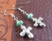 Rustic Cross Earrings with Turquoise Howlite Beads, Hypoallergenic, Nickel Free, Dangle Earrings, Christian Jewelry