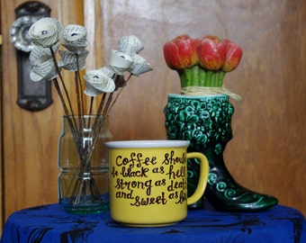 """Yellow Retro Style Coffee Mug with Quote """"Coffee should be black as death..."""""""