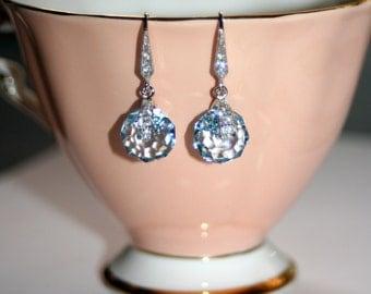 Austrian Swarovski Aqua Blue spinning crystal silver pave drop earrings