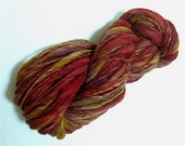 "Yarn Bulky Thick & Thin Alpaca / Wool Bulky Hand Dyed 82 Yds  Red Olive Doll Hair Knitting  Crochet "" Grand Canyon """