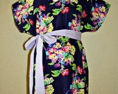 Violet II LINED Maternity Hospital Gown -Multi-ColoredFlowers - Lined in the Color of Your Choice- by Mommy Moxie