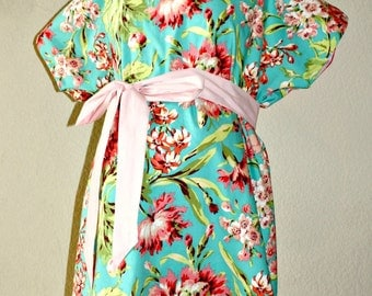 Bliss LINED Maternity Hospital Gown -Big Bright Florals- Lined in the Color of Your Choice- by Mommy Moxie