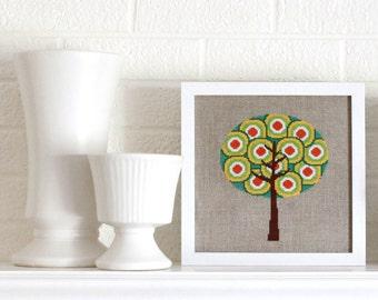 retro tree cross stitch kit - on linen aida - diy - modern - contemporary
