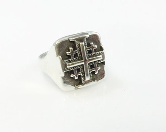 Ezi Zino Sterling Silver Solid 925 Ring Jerusalem Cross Star New