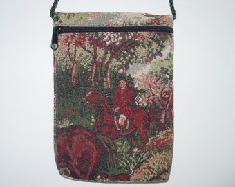 Horse Hunt Scene Tapestry Purse On The Rope Crossboday Bag,Equestrian Handbags
