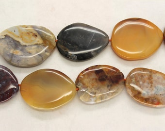 Large Agate Smooth Freeform Slab Beads - 16 Inch Strand