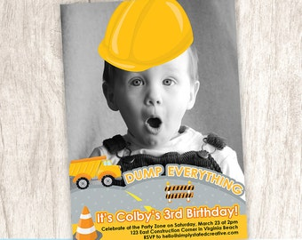 Construction Birthday Party Photo Invitation, Dump Truck Party Invite, Construction Worker Zone - DiY Printable || Construction Party Zone