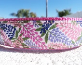 """Sale Girl Dog Collar, 1"""" wide Quick Release buckle or Martingale collar adjustable Wisteria  - XXL - see details for info"""
