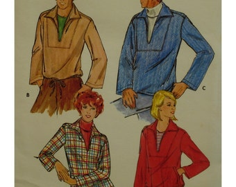 "Mens Pullover Shirt Pattern, Open Neck. Long Sleeves, Flip Collar, Pockets, Optional Drawstring, Butterick No.5962 UNCUT Size Chest 44""112cm"