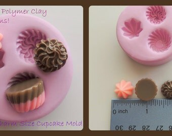 Cupcake Cabochon Mold Cupcake Charm Mold Polymer Clay Resin Mould