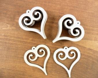 "12 Heart Wood Earring Shapes Scroll Work 2 1/8"" x 1 7/8"" x 1/8"" Unfinished Laser Cut Earring Pendant Jewelry Making Shapes"