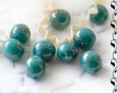 Czech Glass Round Beads 7 mm Turquoise Marbled Gold Finish 20 pcs