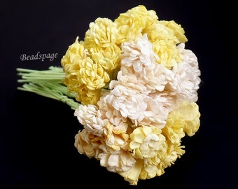 Dollhouse Miniature Flowers Bouquet - Yellow White Cream Sweet Petite Decoration for 1/12 scale ~ 1/6 scale, DIY Craft (see Item Details)