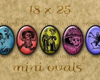 DAY of the DEAD 18x25 mm Ovals - Digital Printables for making Pendants Cameos Crafts...Dia de los Muertos Calaveras by Jose Posada