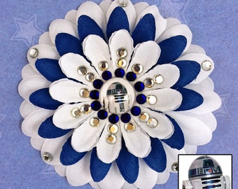 R2-D2 White and Blue Penny Blossom Rhinestone Flower Barrette