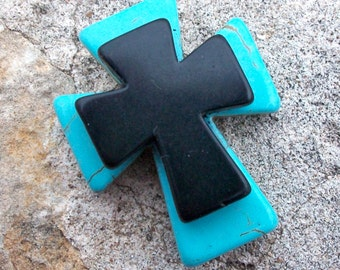 Large Stacked Turquoise Blue Stone Cross with Black Stone Cross