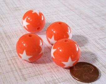 Orange Star Gumball Beads