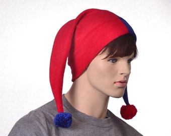 Harlequin Hat Red Blue Jester Hat Two Pointed Clown Cap Split Personality Fools Beanie Hat Fleece Hat