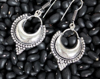 Crescent silver plated elements Indian style Unique Ethnic dangle earrings Tribal Free people style Bohemian jewelry by Inali